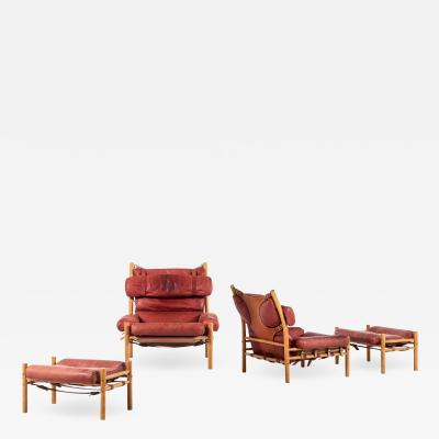 Arne Norell Easy Chairs and Stools Model Inca Produced by Arne Norell AB