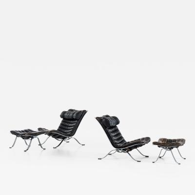 Arne Norell Easy Chairs with Stools Model Ari Produced by Arne Norell AB