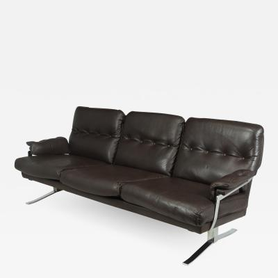 Arne Norell Mid Century Chrome and Leather Sofa by Arne Norrell c1960
