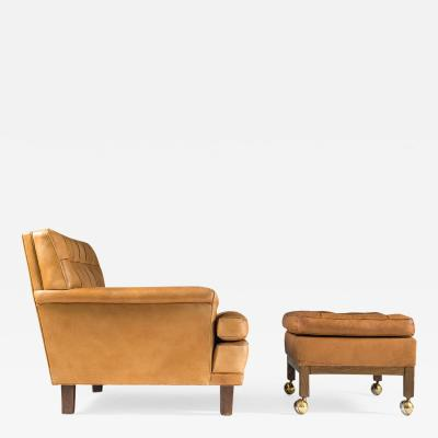 Arne Norell Midcentury Swedish Lounge Chair and Ottoman Merkur by Arne Norell
