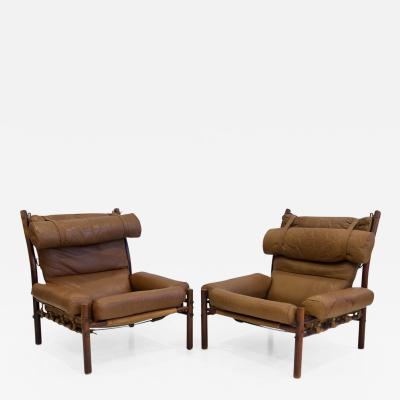 Arne Norell Pair of Arne Norell Brown Leather Inca Lounge Chairs