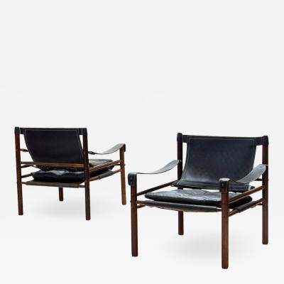 Arne Norell Pair of Arne Norell Sirocco Safari Chairs in Rosewood and Leather Sweden 1964