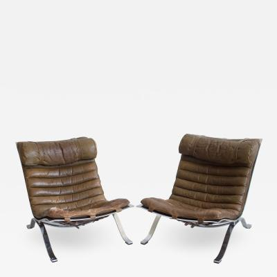 Arne Norell Pair of Brown Leather and Steel Ari Lounge Chairs by Arne Norell