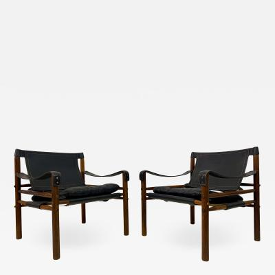Arne Norell Pair of Leather and Rosewood Sirocco Safari Chairs by Arne Norell