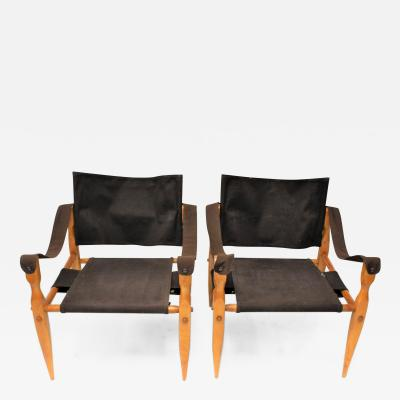 Arne Norell Pair of Sirocco Wood and Canvas Outdoor Lounge Chairs by Arne Norell