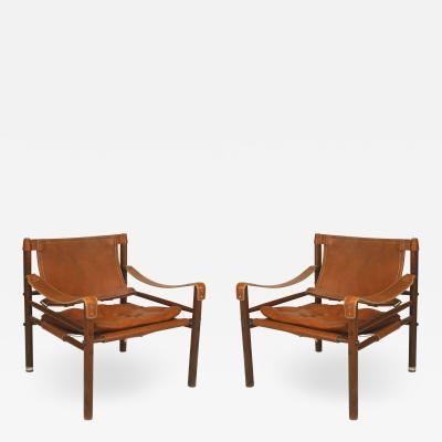 Arne Norell Pair of Swedish Post War Leather Arm Chairs
