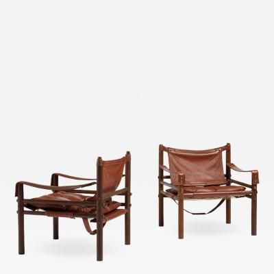 Arne Norell Pair of oak scandinavian Sirocco Safari lounge chairs by Arne Norell