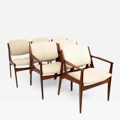 Arne Vodder Arne Vodder Elle and Ella Mid Century Teak Dining Chairs Set of 6