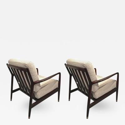 Arne Vodder Arne Vodder Pair of Lounge Chairs with Tapered Gold Metal End s Leg