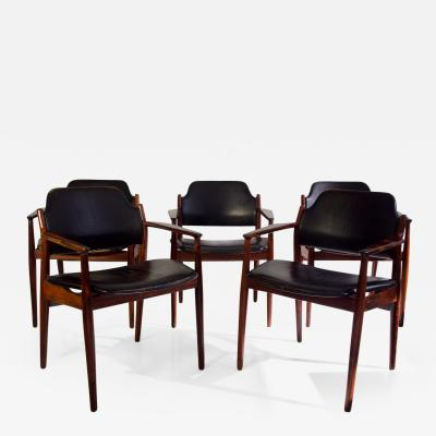 Arne Vodder Arne Vodder for Sibast Black Leather Chairs Model 62A