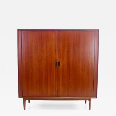 Arne Vodder Danish Modern Teak Gentlemans Chest w Tambour Doors Designed by Arne Vodder