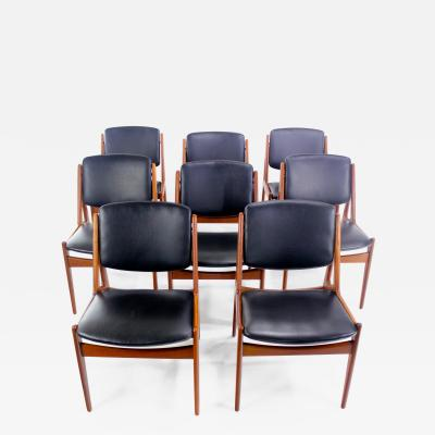 Arne Vodder Eight Danish Modern Ellen Teak Dining Chairs Designed by Arne Vodder