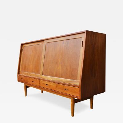 Arne Vodder Exquisite early Arne Vodder angled CREDENZA in TEAK OAK 8 drawers