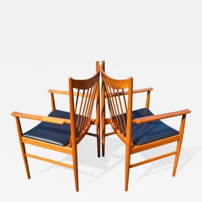Arne Vodder Pair Elegant Arne Vodder for Sibast Teak Spindle Back Arm Chairs