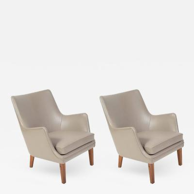 Arne Vodder Pair of Arne Vodder Leather Lounge Chairs by Ivan Schlechter Denmark 1953