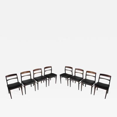 Arne Vodder Rare Arne Vodder Solid Rosewood Dining Chairs Set of 8