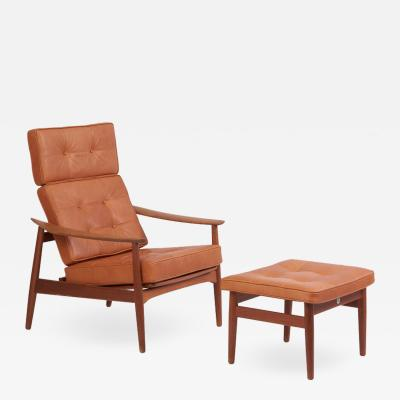 Arne Vodder Reclining Lounge Chair FD 164 with Ottoman by Arne Vodder Denmark 1960s