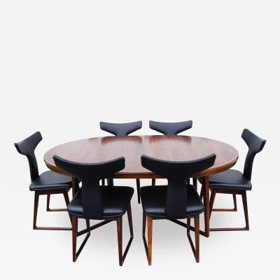 Arne Vodder Rosewood Dining Table and Six Chairs by Arne Vodder