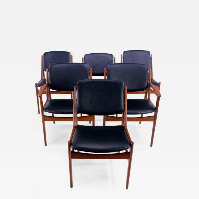 Arne Vodder Set of Six Danish Modern Ella Teak Dining Chairs Designed by Arne Vodder