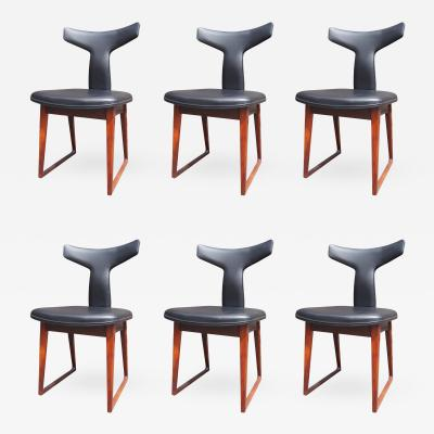 Arne Vodder Set of Six Leather and Rosewood Dining Chairs by Arne Vodder for Sibast
