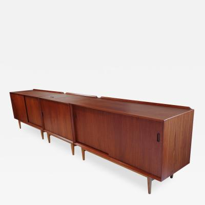 Arne Vodder Trio of Scandinavian Modern Arne Vodder Teak and Oak Media Cabinets