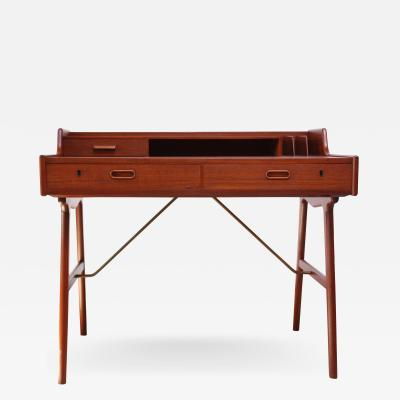 Arne Wahl Iversen Teak and Brass Ladies Desk by Arne Wahl Iversen
