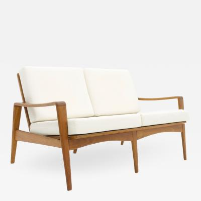 Arne Wahl Iversen Two Person Teak Wood Sofa Bench by Arne Wahl Iversen 1960s