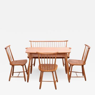 Arno Lambrecht Arno Lambrecht Dining Set of Table Three Chairs and a Bench for WK Mobel