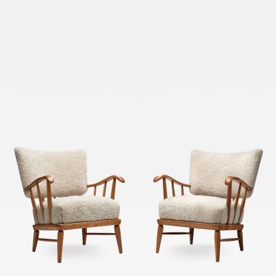 Arnt Lande Arnt Lande attr Pair of Pine Armchairs by M ller Stokke Norway 1940s