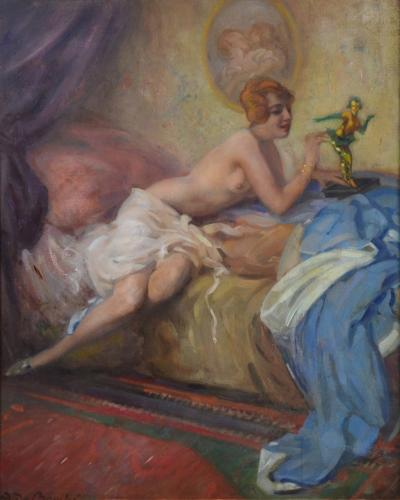 Arnulf de Bouche Colombina French Belle Epoque Oil Painting of Nude
