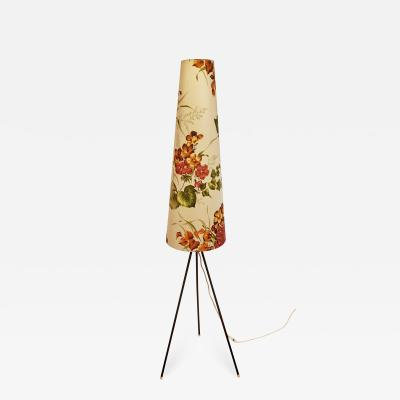 Aro Leuchten GmbH TRIPOD FLOOR LAMP WITH CONICAL FLORAL SHADE BY ARO LEUCHTEN GERMANY