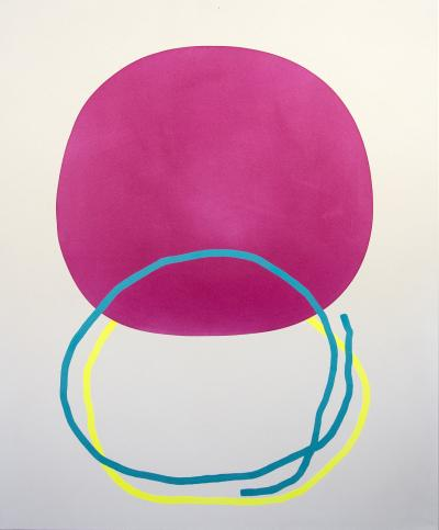 Aron Hill Magenta Circle with Blue and Yellow Line