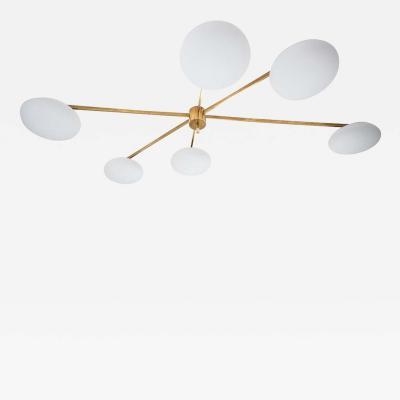 Arredoluce style Asymmetric flash mount brass and glass ceiling light