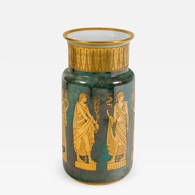 Arrigo Finzi Arrigo Finzi Greco Roman Motif Gold Porcelain Vase for Oro Zecchino