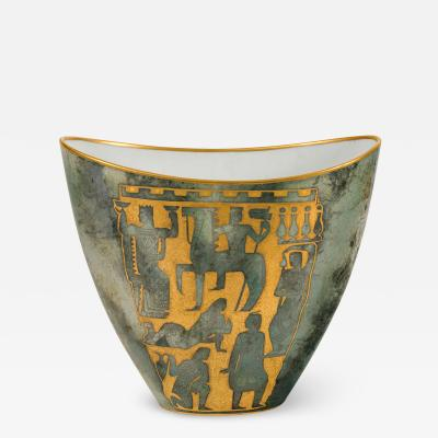 Arrigo Finzi Greco Roman Motif Gold Porcelain Vase for Oro Zecchino