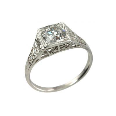 Art Deco 1 01 Carat Old European Cut Diamond Platinum Engagement Ring