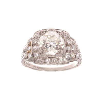 Art Deco 1 92 Carat Diamond Platinum Engagement Ring