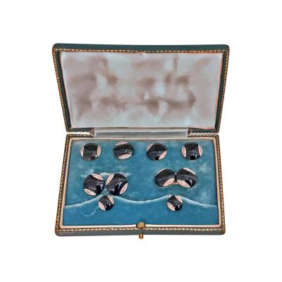 Art Deco 18K Onyx Diamond Cufflinks Tuxedo Set in Fitted Box English C 1920
