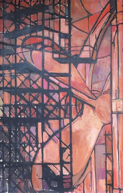 Art Deco 1930s Oil Painting Shipbuilding