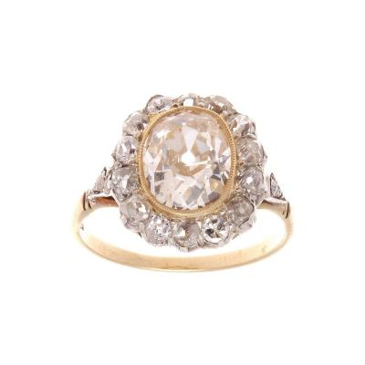 Art Deco 2 50 Carat Old European Diamond Gold Ring