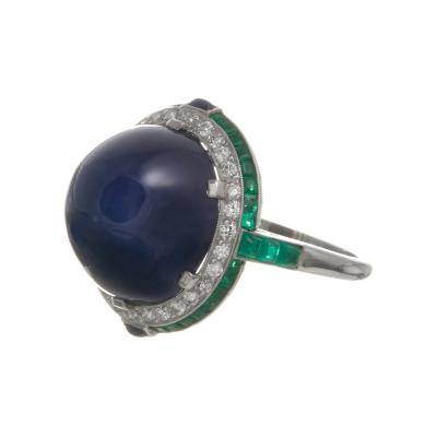 Art Deco 25 Carat GIA Cert No Heat Color Change Star Sapphire Platinum Ring