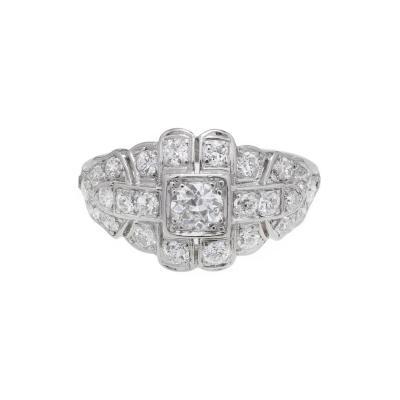 Art Deco 31 Carat Diamond Platinum Dome Engagement Ring