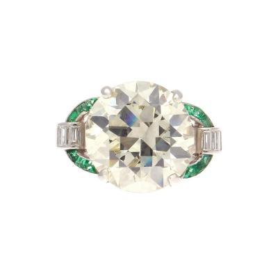Art Deco 6 09 Carat Diamond Emerald Platinum Ring