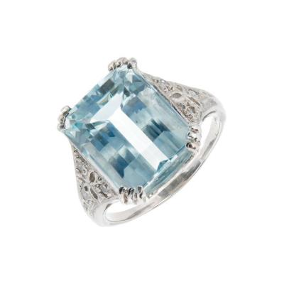 Art Deco 6 25ct Aqua Diamond Platinum Cocktail Ring
