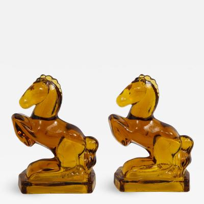 Art Deco Amber Glass Horse Bookends