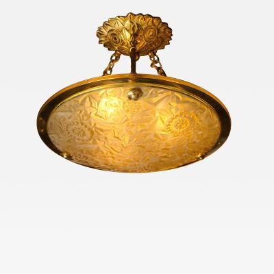 Art Deco Amber Glass Pendant w Stylized Cubist Motifs Gilded Bronze Fittings