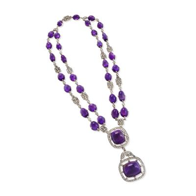 Art Deco Amethyst and Diamond Necklace