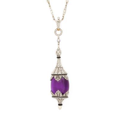 Art Deco Amethyst and Diamond Pendant Necklace