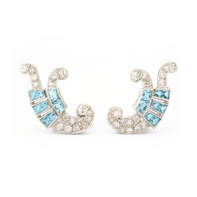 Art Deco Aquamarine and Diamond Earrings
