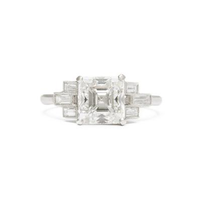 Art Deco Asscher cut Diamond Engagement Ring